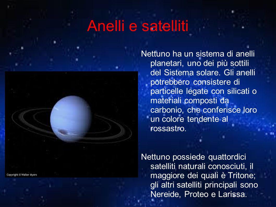 Anelli e satelliti Nettuno ha un sistema di anelli planetari, uno dei più sottili del Sistema solare. Gli anelli potrebbero consistere di particelle l