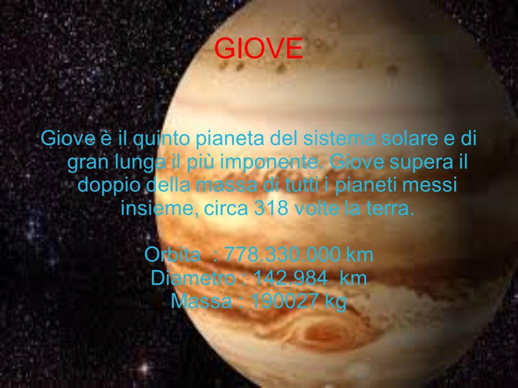GIOVE Giove è il quinto pianeta del sistema solare e di gran lunga il più imponente. Giove supera il doppio della massa di tutti i pianeti messi insie