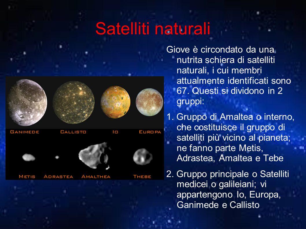 Satelliti naturali Giove è circondato da una nutrita schiera di satelliti naturali, i cui membri attualmente identificati sono 67. Questi si dividono
