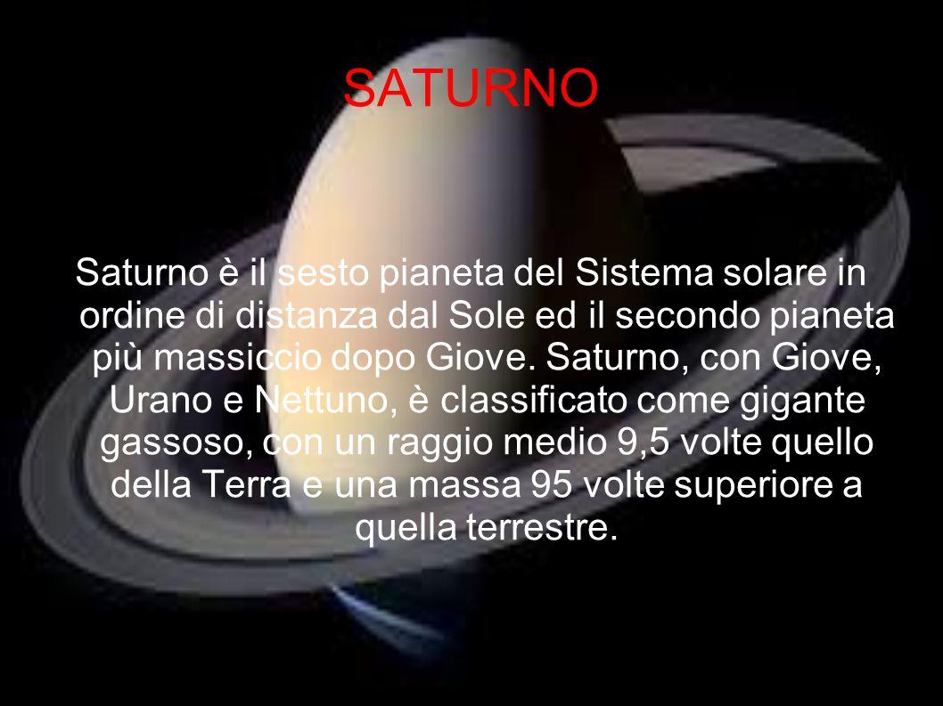 SATURNO Saturno è il sesto pianeta del Sistema solare in ordine di distanza dal Sole ed il secondo pianeta più massiccio dopo Giove. Saturno, con Giov