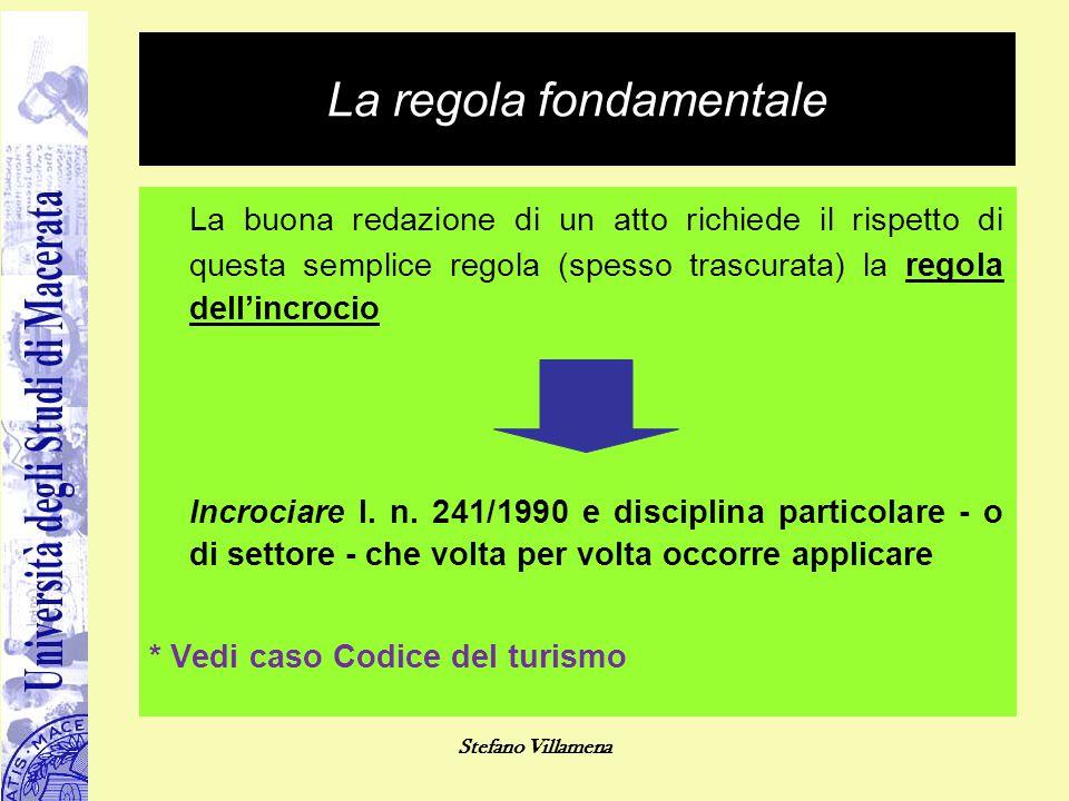 Stefano Villamena La regola fondamentale La buona redazione di un atto richiede il rispetto di questa semplice regola (spesso trascurata) la regola de
