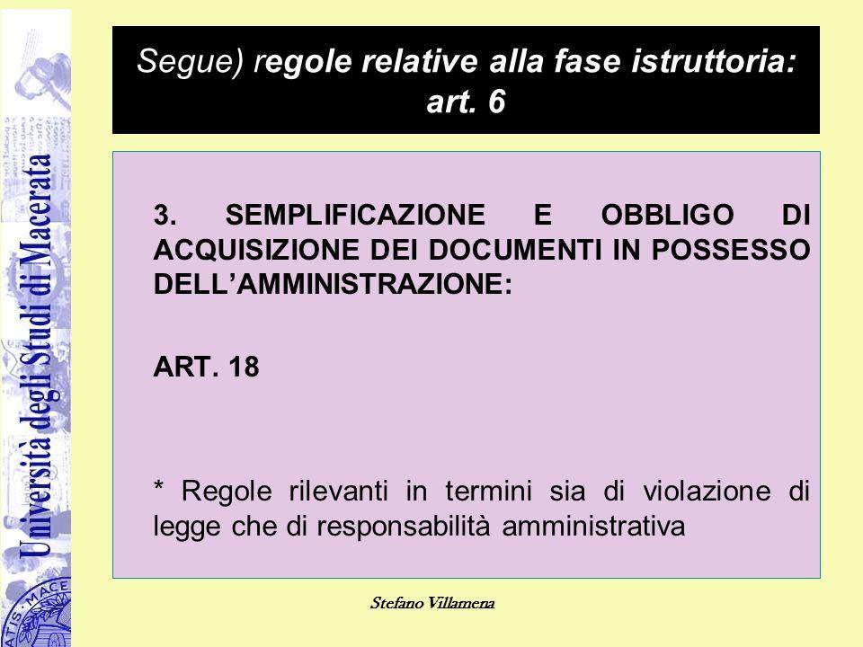 Stefano Villamena Segue) regole relative alla fase istruttoria: art. 6 3. SEMPLIFICAZIONE E OBBLIGO DI ACQUISIZIONE DEI DOCUMENTI IN POSSESSO DELL'AMM