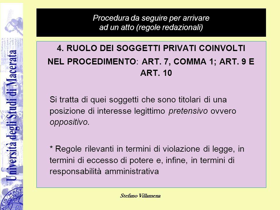 Stefano Villamena Procedura da seguire per arrivare ad un atto (regole redazionali) 4. RUOLO DEI SOGGETTI PRIVATI COINVOLTI NEL PROCEDIMENTO: ART. 7,