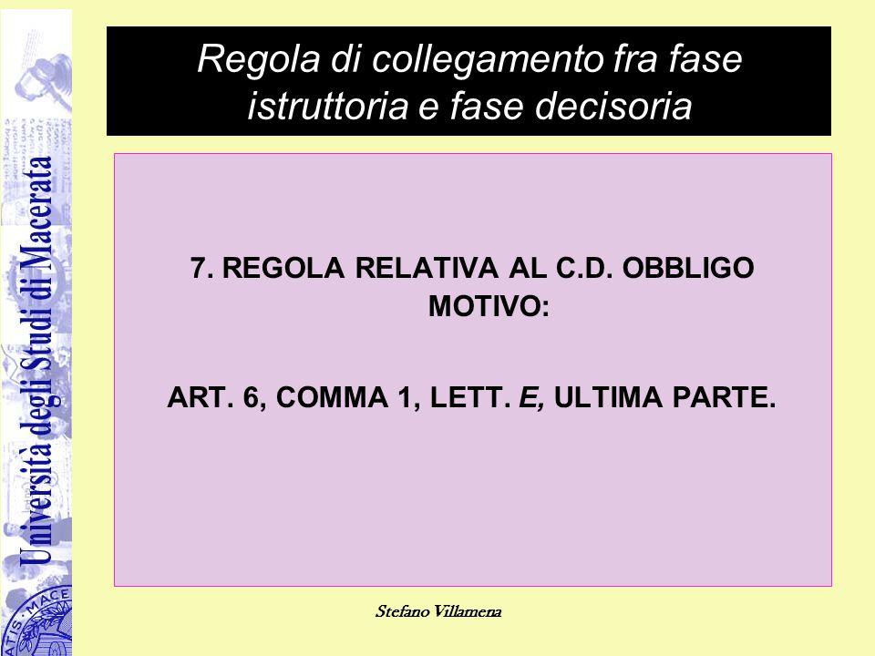Stefano Villamena Regola di collegamento fra fase istruttoria e fase decisoria 7. REGOLA RELATIVA AL C.D. OBBLIGO MOTIVO: ART. 6, COMMA 1, LETT. E, UL