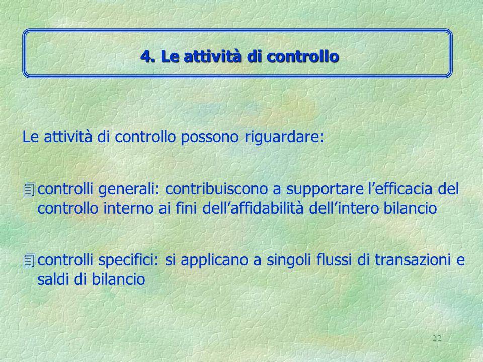 21 4 Le attività di controllo sono l'insieme delle procedure aziendali che aiutano il management a verificare il rispetto delle direttive impartite 4 Vengono svolte a diversi livelli all'interno della struttura 4 La natura delle attività di controllo dipende dalla natura delle transazioni che si vogliono controllare 4.