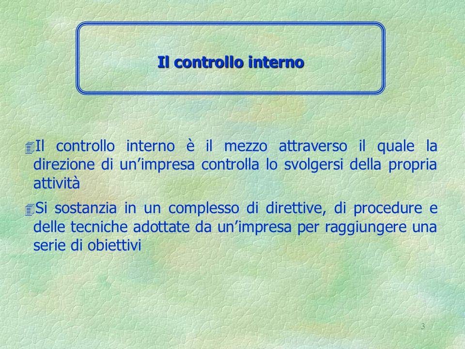 3 4 Il controllo interno è il mezzo attraverso il quale la direzione di un'impresa controlla lo svolgersi della propria attività 4 Si sostanzia in un complesso di direttive, di procedure e delle tecniche adottate da un'impresa per raggiungere una serie di obiettivi Il controllo interno