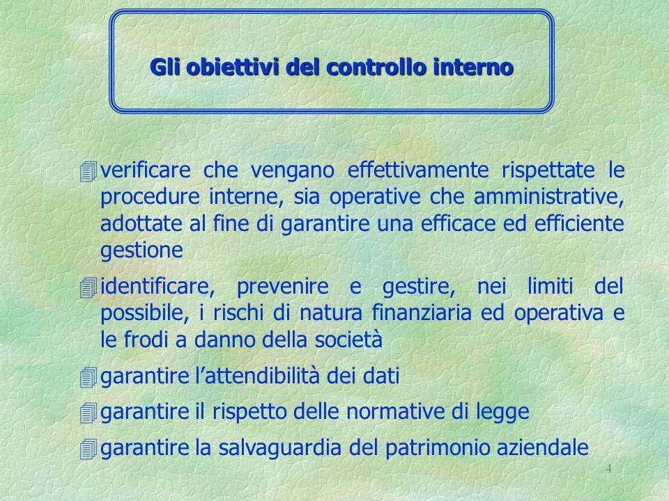 14 4E' l'insieme delle procedure per la rilevazione e il trattamento delle informazioni necessarie per il raggiungimento degli obiettivi aziendali.