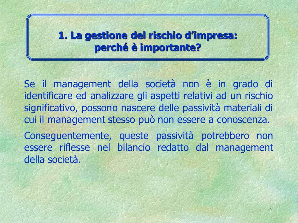 8 L'analisi del sistema di controllo interno prevede la documentazione e la valutazione dei suoi elementi principali: 1.