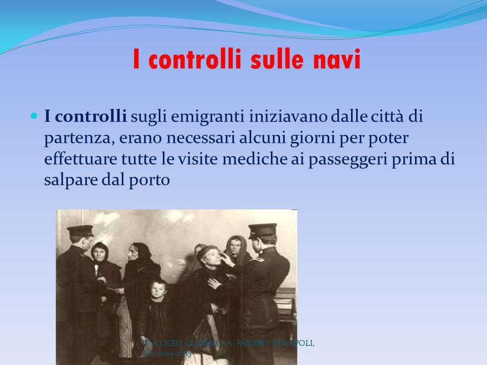 I controlli sulle navi I controlli sugli emigranti iniziavano dalle città di partenza, erano necessari alcuni giorni per poter effettuare tutte le vis