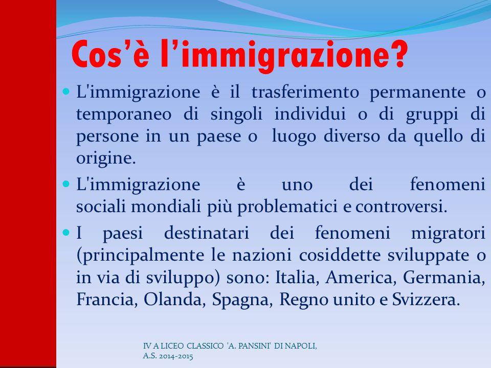 Cos'è l'immigrazione? L'immigrazione è il trasferimento permanente o temporaneo di singoli individui o di gruppi di persone in un paese o luogo divers