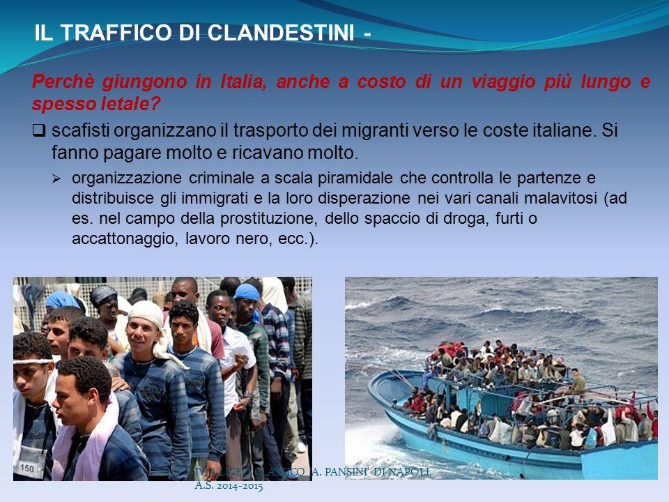 IL TRAFFICO DI CLANDESTINI - Perchè giungono in Italia, anche a costo di un viaggio più lungo e spesso letale?  scafisti organizzano il trasporto dei