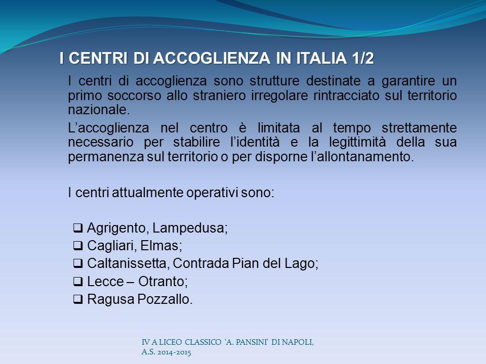 I CENTRI DI ACCOGLIENZA IN ITALIA 1/2 I centri di accoglienza sono strutture destinate a garantire un primo soccorso allo straniero irregolare rintrac