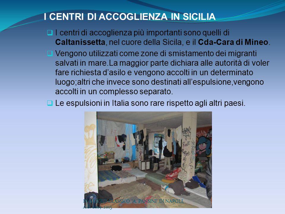 I CENTRI DI ACCOGLIENZA IN SICILIA  I centri di accoglienza più importanti sono quelli di Caltanissetta, nel cuore della Sicila, e il Cda-Cara di Min