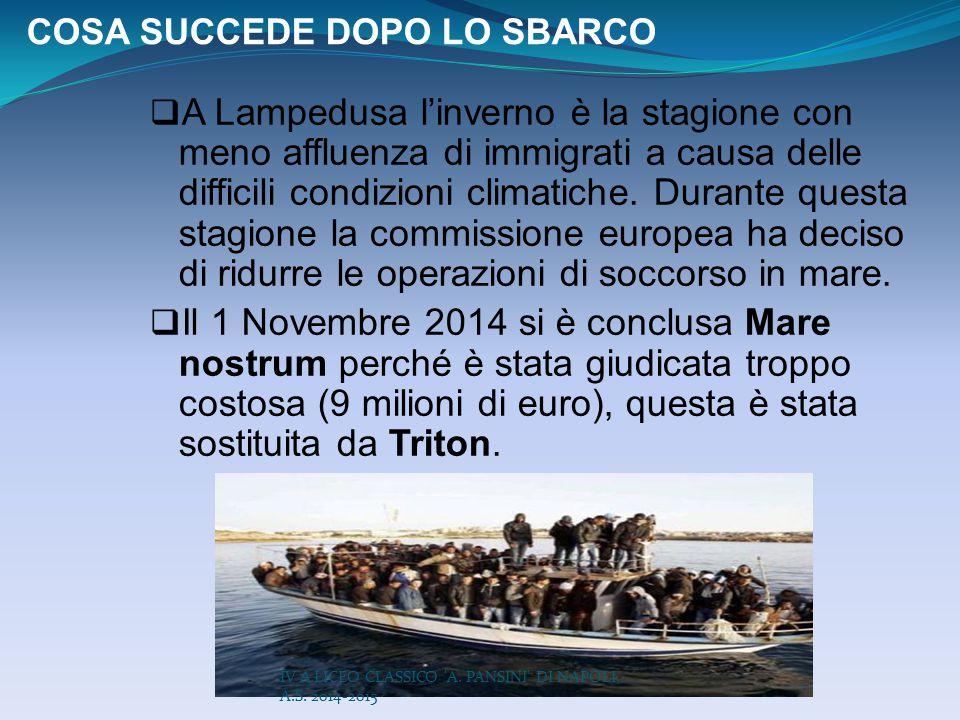 COSA SUCCEDE DOPO LO SBARCO  A Lampedusa l'inverno è la stagione con meno affluenza di immigrati a causa delle difficili condizioni climatiche. Duran