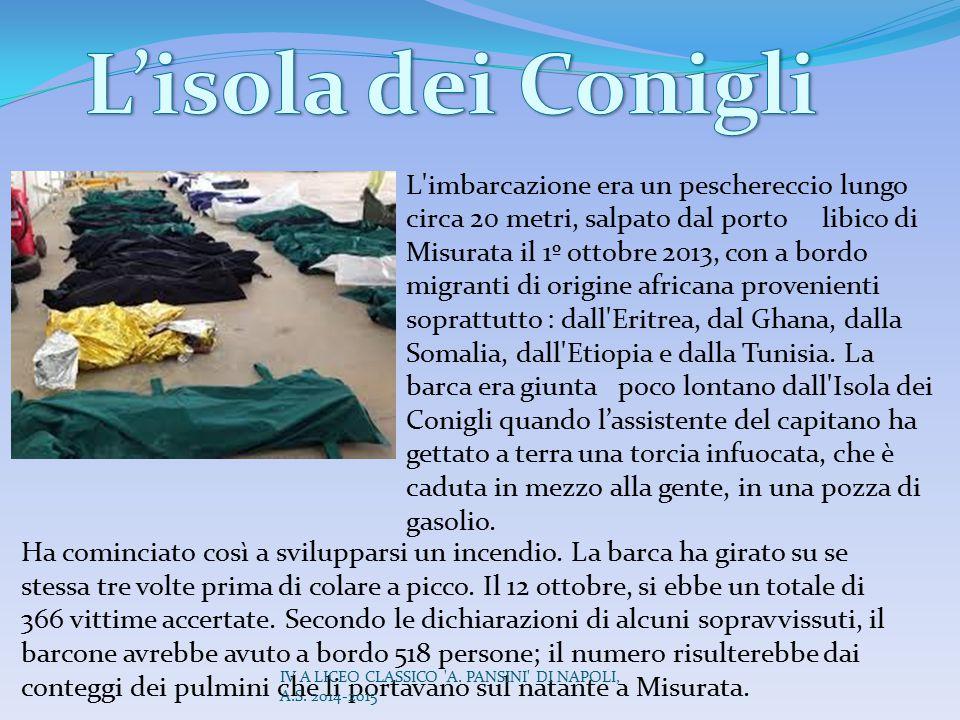 L'imbarcazione era un peschereccio lungo circa 20 metri, salpato dal porto libico di Misurata il 1º ottobre 2013, con a bordo migranti di origine afri