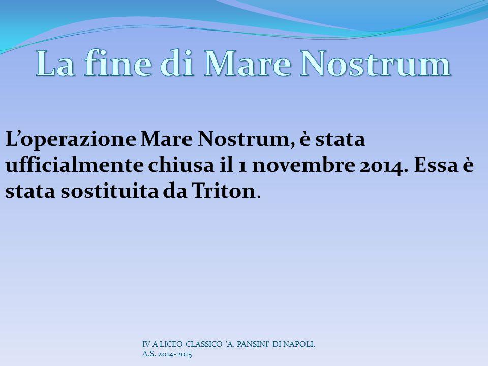 L'operazione Mare Nostrum, è stata ufficialmente chiusa il 1 novembre 2014. Essa è stata sostituita da Triton. IV A LICEO CLASSICO 'A. PANSINI' DI NAP