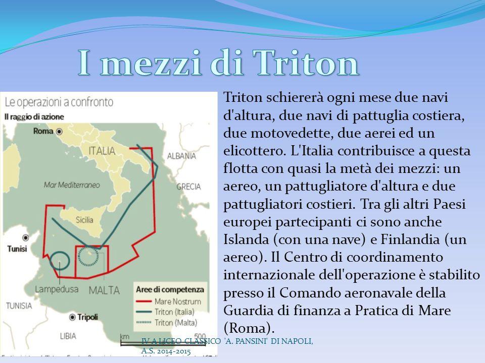 Triton schiererà ogni mese due navi d'altura, due navi di pattuglia costiera, due motovedette, due aerei ed un elicottero. L'Italia contribuisce a que