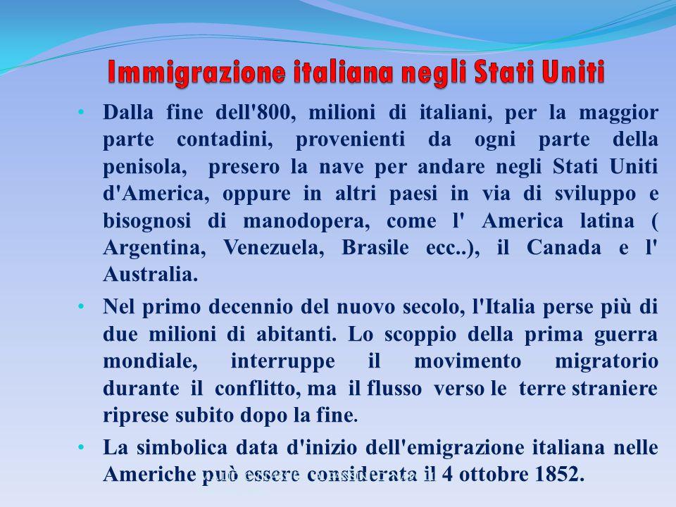Dalla fine dell'800, milioni di italiani, per la maggior parte contadini, provenienti da ogni parte della penisola, presero la nave per andare negli S