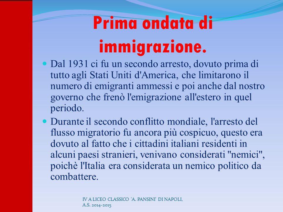 Prima ondata di immigrazione. Dal 1931 ci fu un secondo arresto, dovuto prima di tutto agli Stati Uniti d'America, che limitarono il numero di emigran