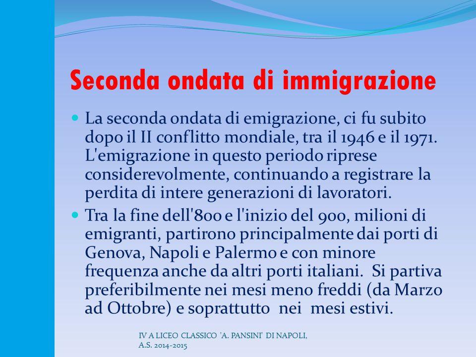 Seconda ondata di immigrazione La seconda ondata di emigrazione, ci fu subito dopo il II conflitto mondiale, tra il 1946 e il 1971. L'emigrazione in q