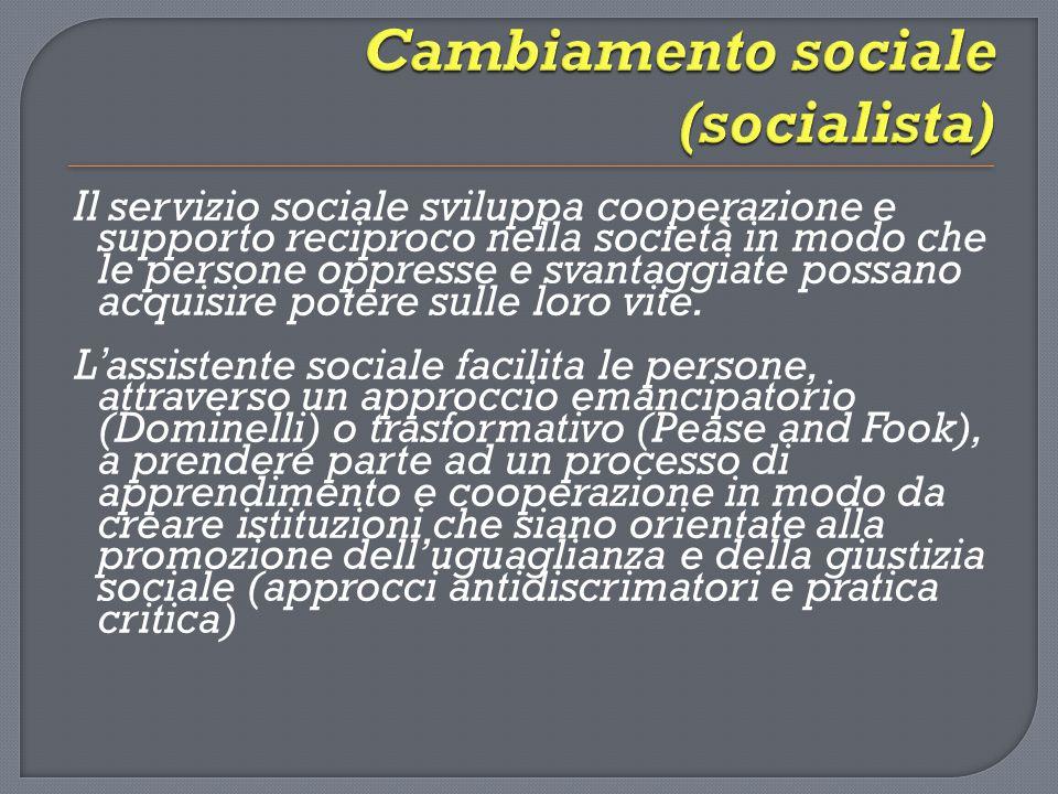 Il servizio sociale sviluppa cooperazione e supporto reciproco nella società in modo che le persone oppresse e svantaggiate possano acquisire potere s