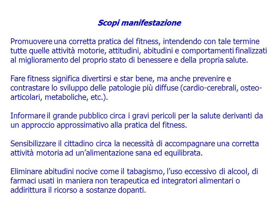 Scopi manifestazione Promuovere una corretta pratica del fitness, intendendo con tale termine tutte quelle attività motorie, attitudini, abitudini e comportamenti finalizzati al miglioramento del proprio stato di benessere e della propria salute.