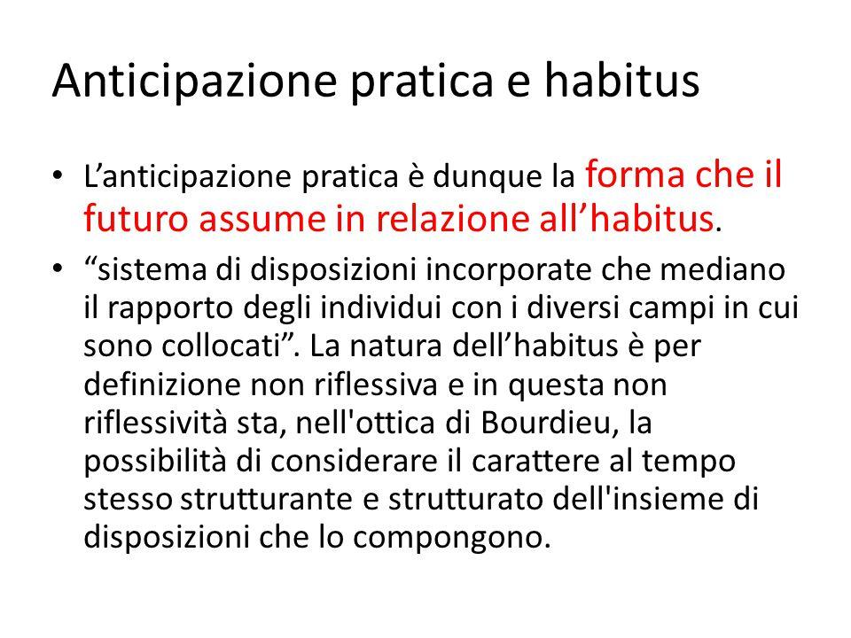 """Anticipazione pratica e habitus L'anticipazione pratica è dunque la forma che il futuro assume in relazione all'habitus. """"sistema di disposizioni inco"""