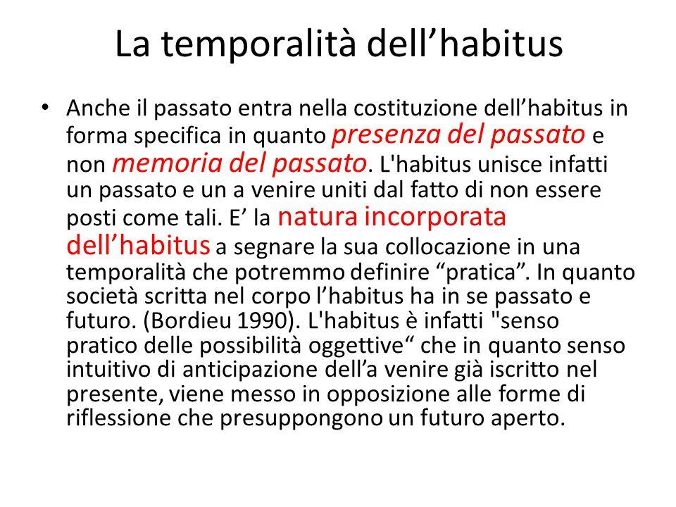 Habitus e possibilità di progettare il futuro La possibilità di progettare ed immaginare il futuro non può svilupparsi nel caso in cui l'habitus non produca anticipazione pratica.