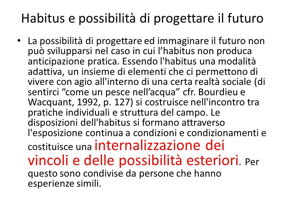 Speranze ed opportunità Per il tramite delle disposizioni dell habitus dunque, secondo Bordieu, le speranze tendono universalmente ad adeguarsi alle opportunità oggettive.