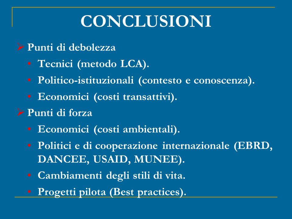 CONCLUSIONI  Punti di debolezza Tecnici (metodo LCA).