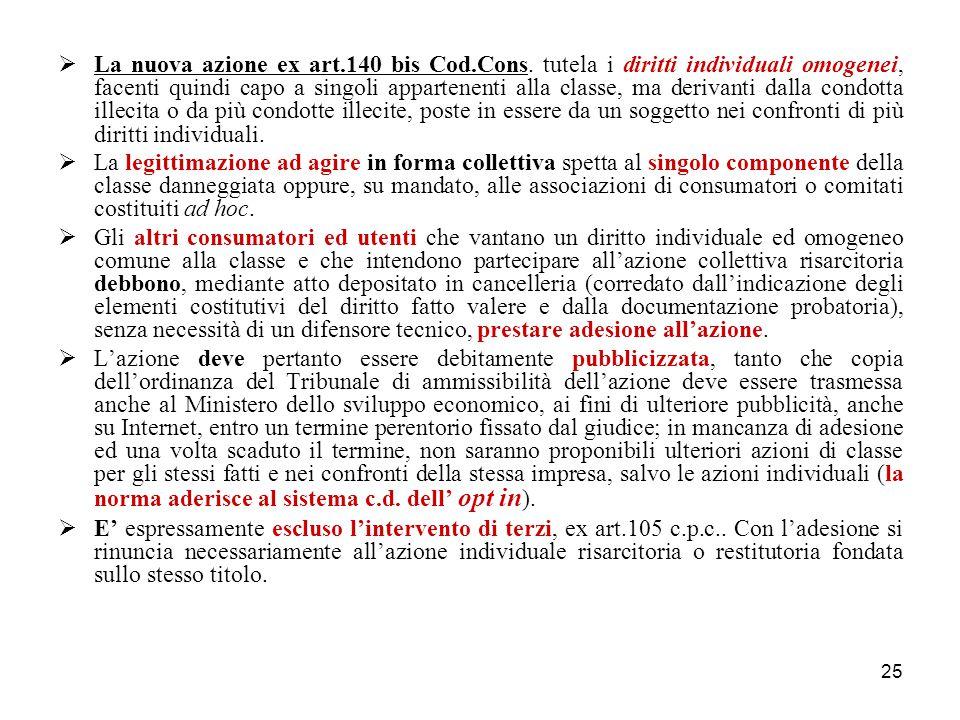 25  La nuova azione ex art.140 bis Cod.Cons.