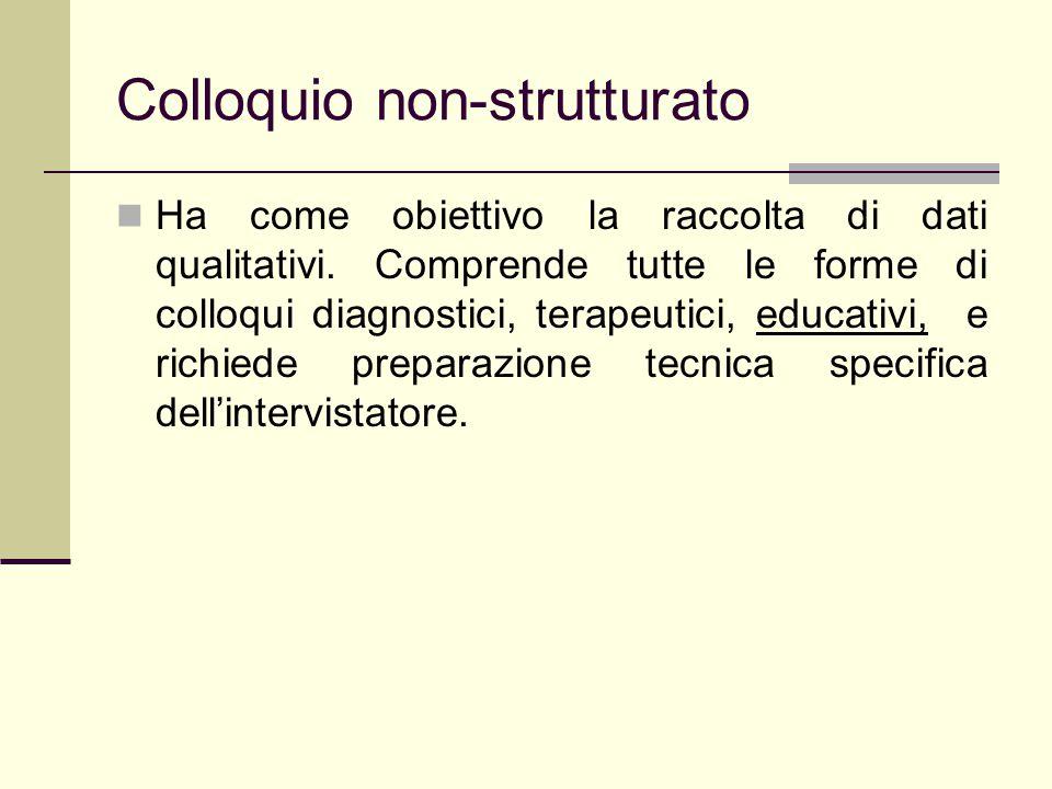 Colloquio non-strutturato Ha come obiettivo la raccolta di dati qualitativi. Comprende tutte le forme di colloqui diagnostici, terapeutici, educativi,