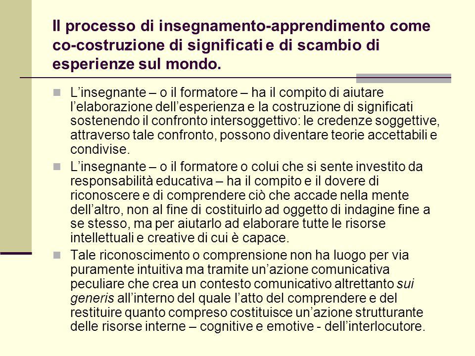 Il processo di insegnamento-apprendimento come co-costruzione di significati e di scambio di esperienze sul mondo. L'insegnante – o il formatore – ha