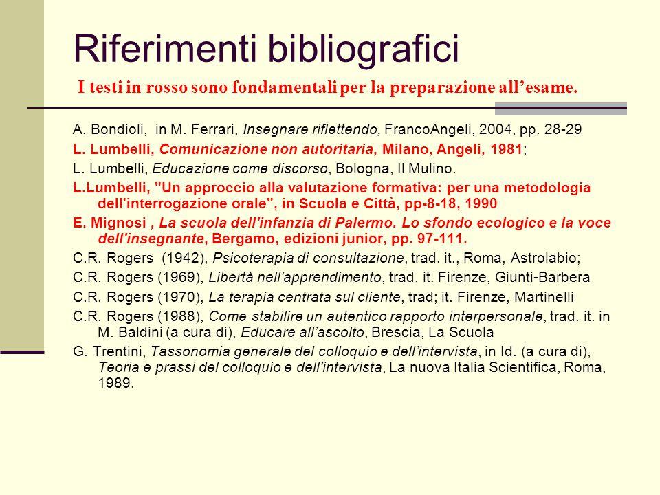 Riferimenti bibliografici I testi in rosso sono fondamentali per la preparazione all'esame. A. Bondioli, in M. Ferrari, Insegnare riflettendo, FrancoA