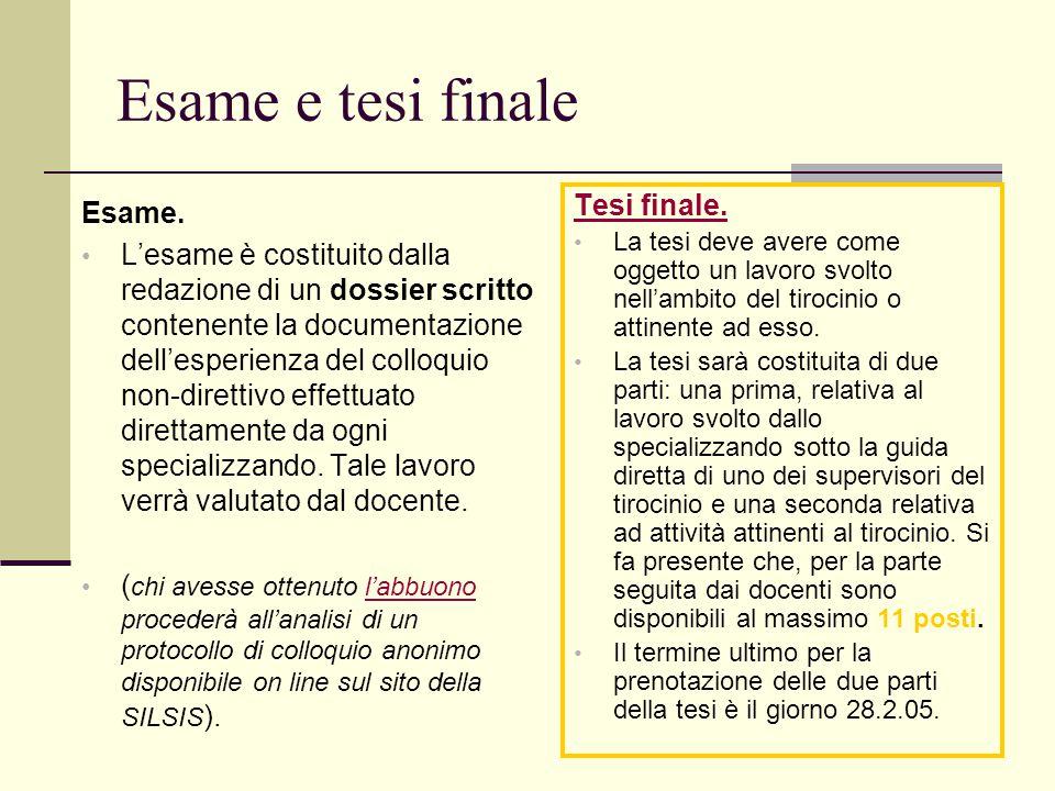 Esame e tesi finale Esame. L'esame è costituito dalla redazione di un dossier scritto contenente la documentazione dell'esperienza del colloquio non-d