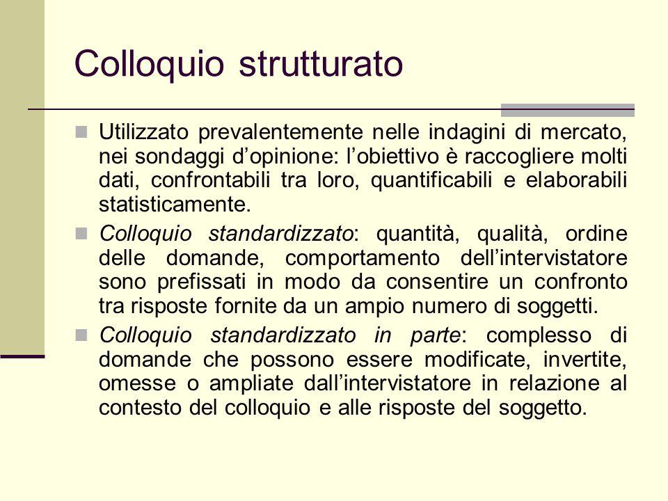 Colloquio non-strutturato Ha come obiettivo la raccolta di dati qualitativi.