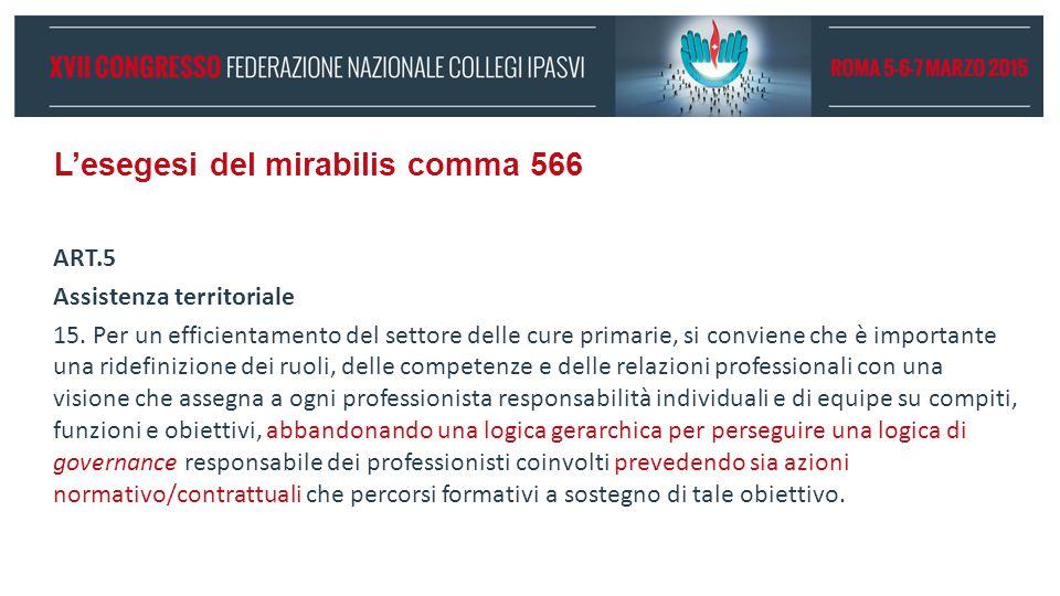L'esegesi del mirabilis comma 566 ART.5 Assistenza territoriale 15. Per un efficientamento del settore delle cure primarie, si conviene che è importan