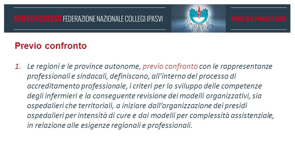 Previo confronto 1.Le regioni e le province autonome, previo confronto con le rappresentanze professionali e sindacali, definiscono, all'interno del p