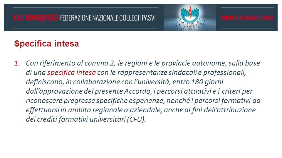 Specifica intesa 1.Con riferimento al comma 2, le regioni e le provincie autonome, sulla base di una specifica intesa con le rappresentanze sindacali