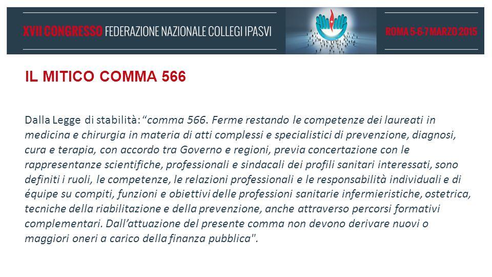"""IL MITICO COMMA 566 Dalla Legge di stabilità: """"comma 566. Ferme restando le competenze dei laureati in medicina e chirurgia in materia di atti comples"""