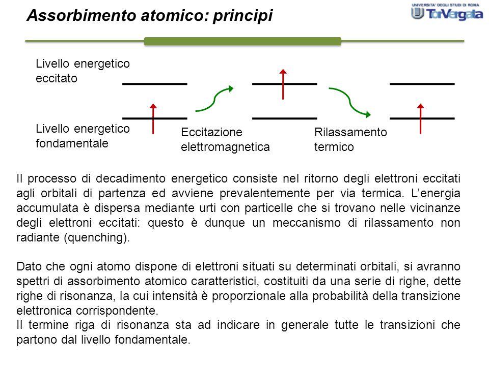 Livello energetico fondamentale Livello energetico eccitato Eccitazione elettromagnetica Rilassamento termico Il processo di decadimento energetico co