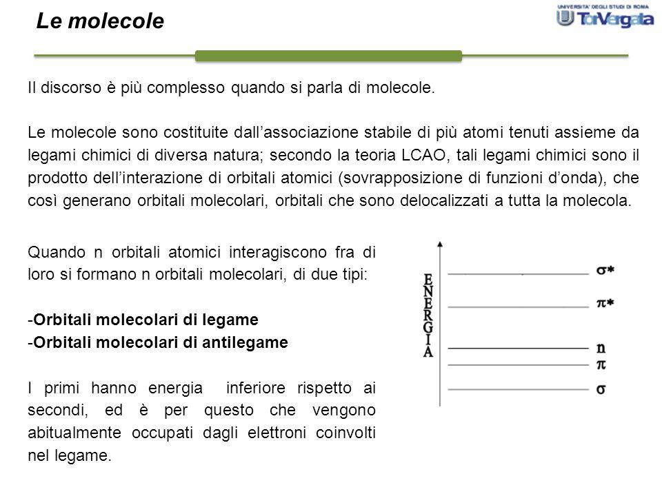 Il discorso è più complesso quando si parla di molecole. Le molecole sono costituite dall'associazione stabile di più atomi tenuti assieme da legami c