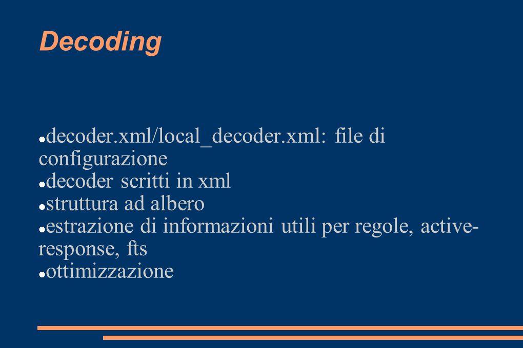 Decoding decoder.xml/local_decoder.xml: file di configurazione decoder scritti in xml struttura ad albero estrazione di informazioni utili per regole,