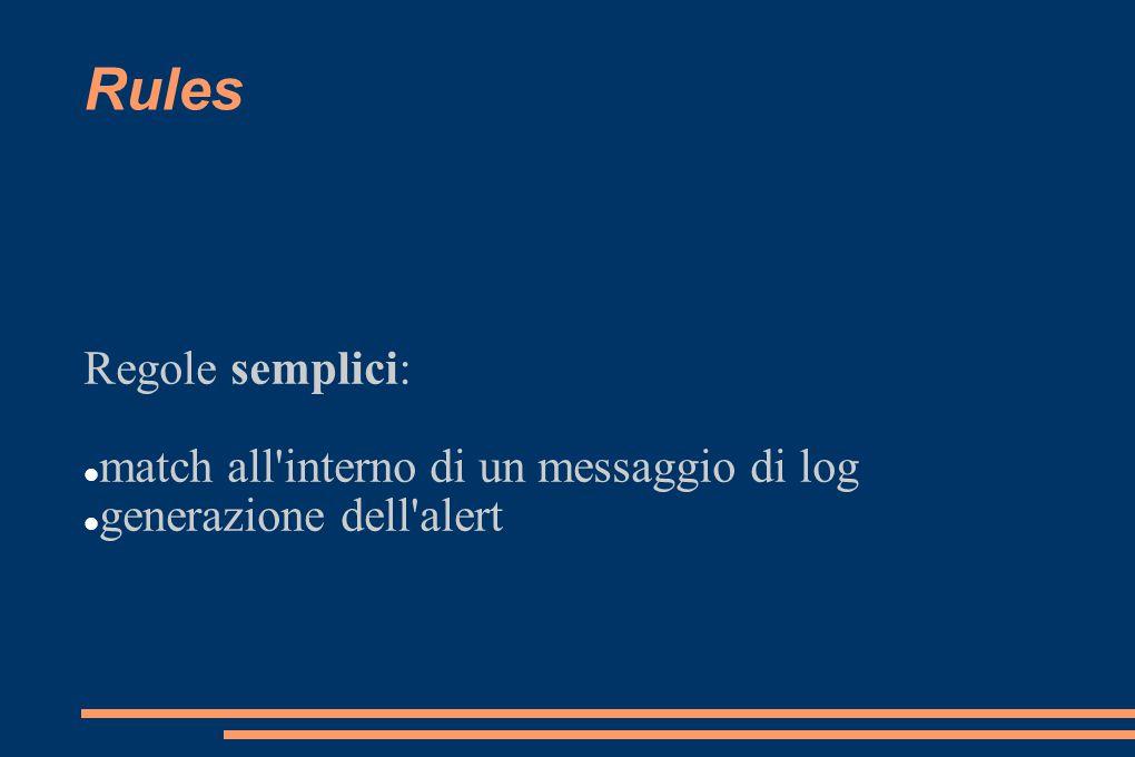 Rules Regole semplici: match all'interno di un messaggio di log generazione dell'alert