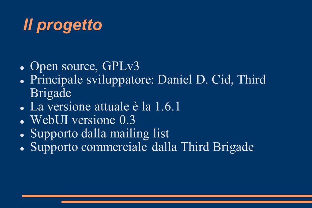 Il progetto Open source, GPLv3 Principale sviluppatore: Daniel D. Cid, Third Brigade La versione attuale è la 1.6.1 WebUI versione 0.3 Supporto dalla