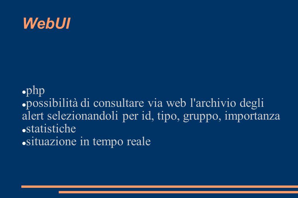 WebUI php possibilità di consultare via web l'archivio degli alert selezionandoli per id, tipo, gruppo, importanza statistiche situazione in tempo rea