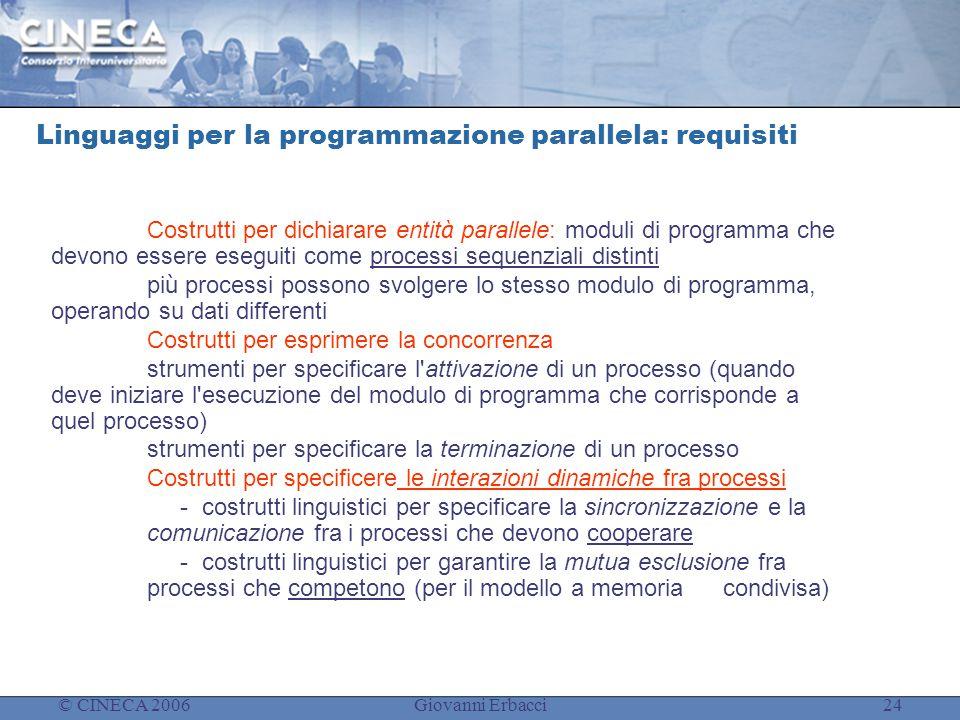 © CINECA 2006Giovanni Erbacci24 Linguaggi per la programmazione parallela: requisiti Costrutti per dichiarare entit à parallele: moduli di programma c