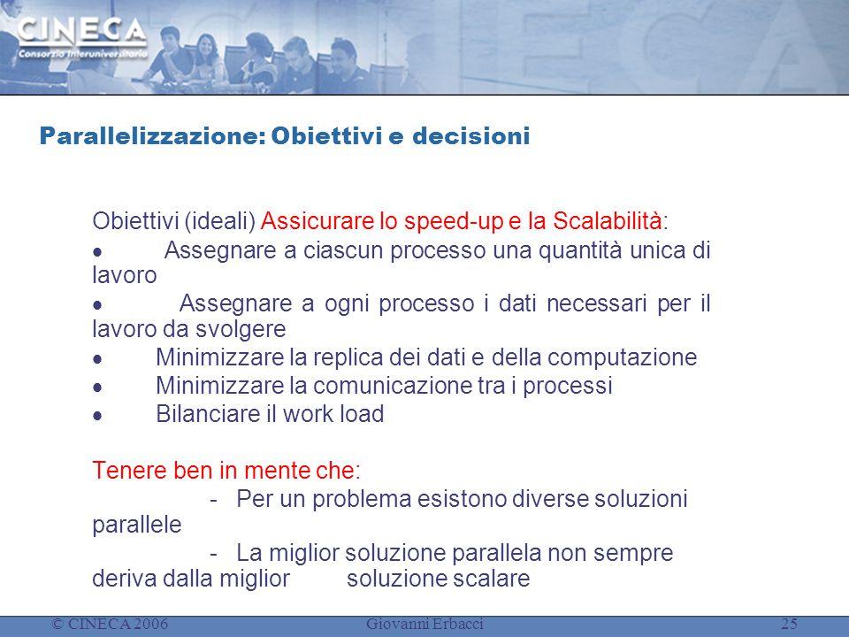 © CINECA 2006Giovanni Erbacci25 Parallelizzazione: Obiettivi e decisioni Obiettivi (ideali) Assicurare lo speed-up e la Scalabilità:  Assegnare a cia