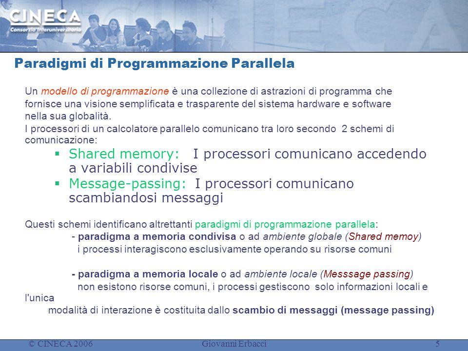 © CINECA 2006Giovanni Erbacci5 Paradigmi di Programmazione Parallela Un modello di programmazione è una collezione di astrazioni di programma che fornisce una visione semplificata e trasparente del sistema hardware e software nella sua globalità.