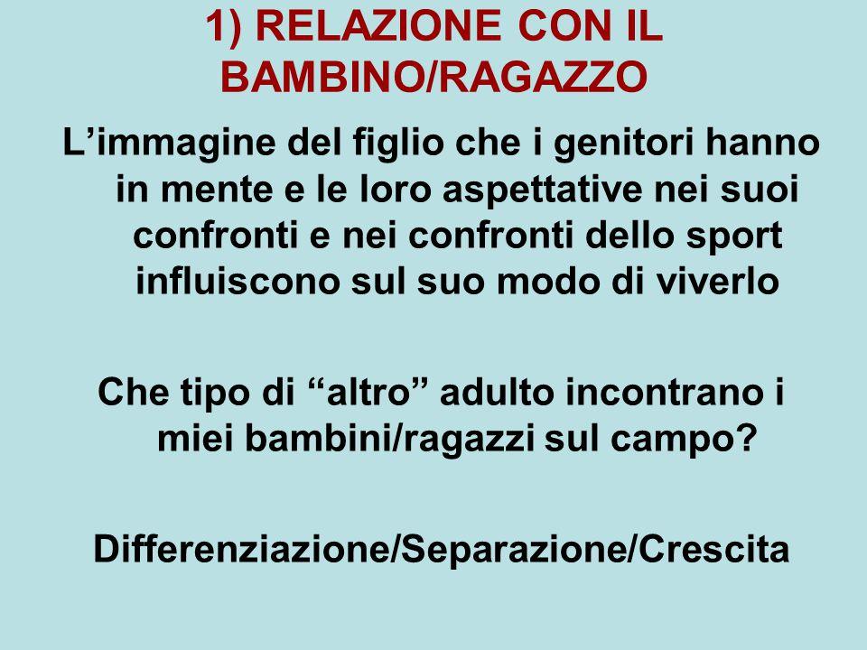 1) RELAZIONE CON IL BAMBINO/RAGAZZO L'immagine del figlio che i genitori hanno in mente e le loro aspettative nei suoi confronti e nei confronti dello